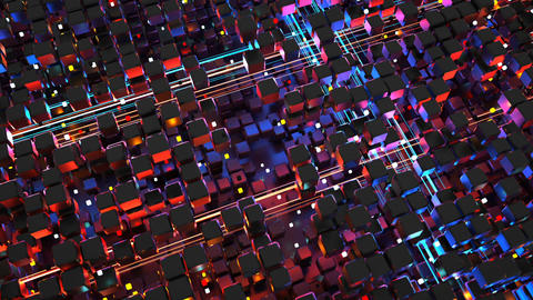 Matrix of cubes and glowing big data streams seamless loop 3D render animation Animation