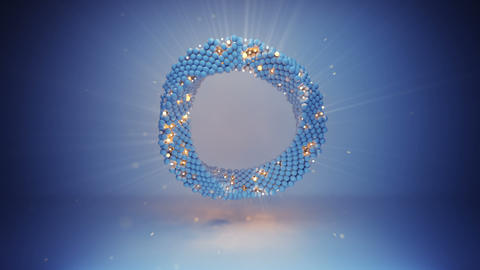 Twisted blue circle seamless loop 3D render animation Animation