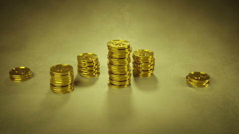 Growing stack of gold coins 3D render animation Animation