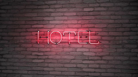Hotel neon signage on brick wall 3D render seamless loop animation Animation