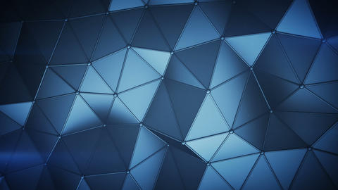 Blue low poly construction with lines on edges loopable 3D render animation Animation