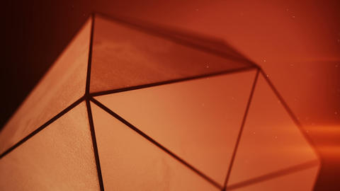 Grunge low poly shape in red light seamless loop 3D render Animation