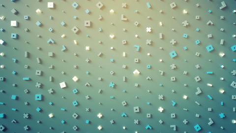Wall of abstract symbols loopable 3D render animation Animation