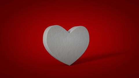 White heart shape on red background is exploding 3D render animation Animation