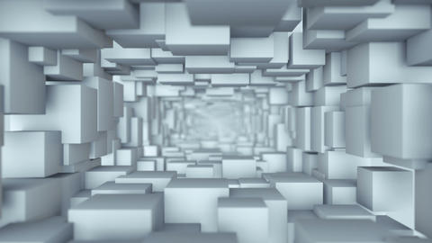 Tunnel of white cubes 3D render seamless loop animation Animation
