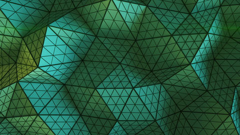 Green triangulated shape with polygons loopable 3D render Animation