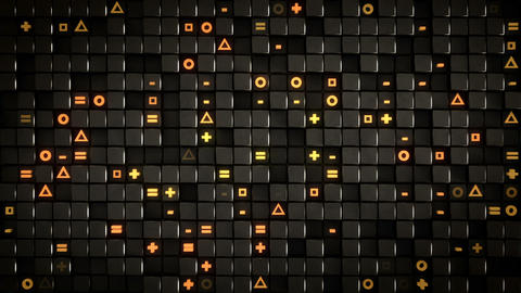 Wall of cubes and random symbols loopable 3D render animation Animation