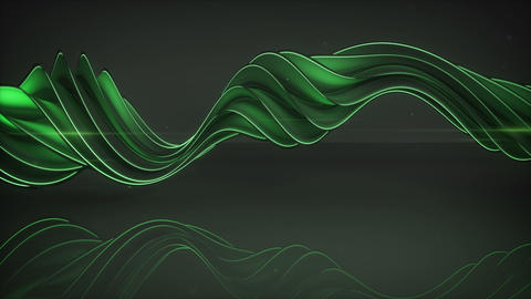 Light emitting green twisted spiral shape spinning loopable 3D render animation Animation