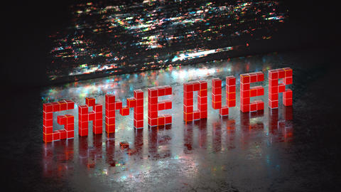 Red game over text in pixel art seamless loop 3D render animation Animation