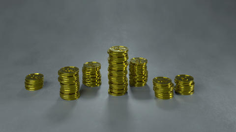 Decreasing stacks of gold coins 3D render animation Animation