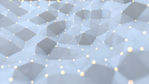 White polygonal space with nodes and lines seamless loop 3D render animation Animation