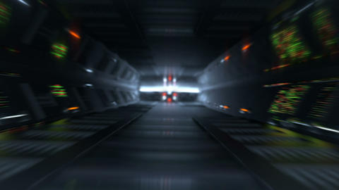 Blurred lines of LED lights in futuristic tunnel loopable 3D render animation Animation
