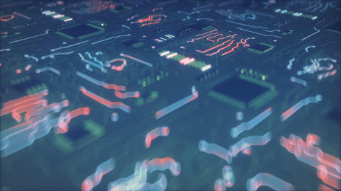 Circuit board conducts electric current seamless loop 3D render animation Animation