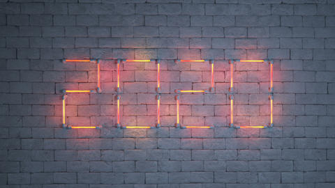 Neon text 2020 on brick wall seamless loop 3D render animation Animation