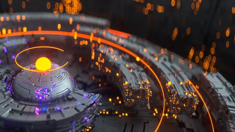 Futuristic technical construction is rotating seamless loop 3D render animation Animation