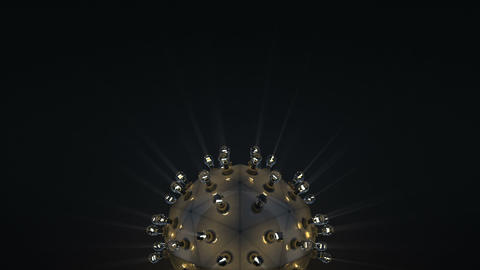 Steampunk ball with light bulbs loopable 3D render animation Animation