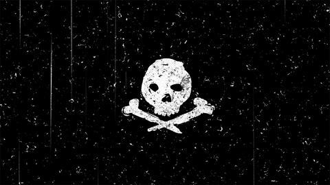 White skull shape on black seamless loop animation Animation