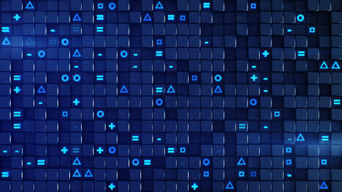 Wall of blue cubes and random symbols loopable animation Animation