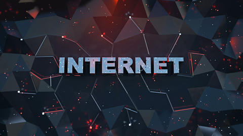 Internet text on low poly surface seamless loop 3D render animation Animation