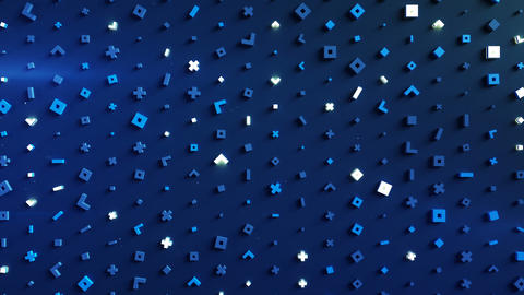Glowing blue geometric shapes loopable 3D render animation Animation
