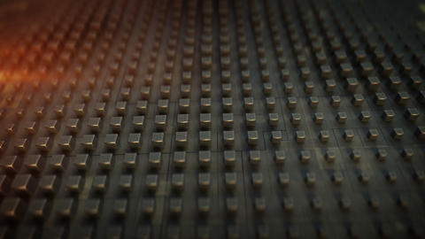 Grey metallic cubes on techno plate seamless loop 3D render animation Animation