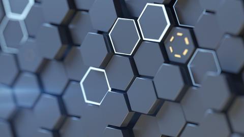 Closeup shot of hexagons seamless loop 3D render animation Animation
