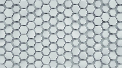 White hexagonal background loopable abstract 3D animation Animation