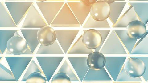 Soft transparent balls rolling on triangular cells 3D render animation Animation