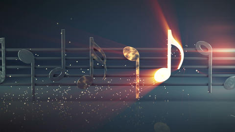 Shiny musical notes seamless loop 3D render animation Animation