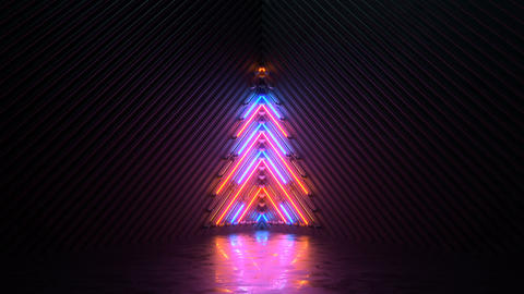 Blinking neon symbol of christmas tree seamless loop 3D render animation Animation