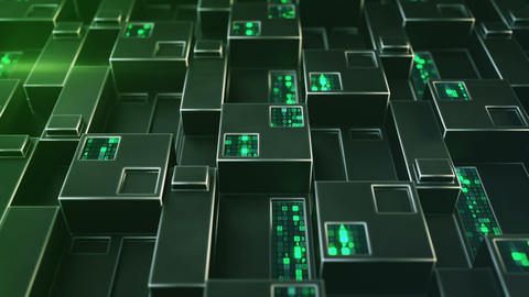 Futuristic techno green structure with digital code 3D render loopable animation Animation