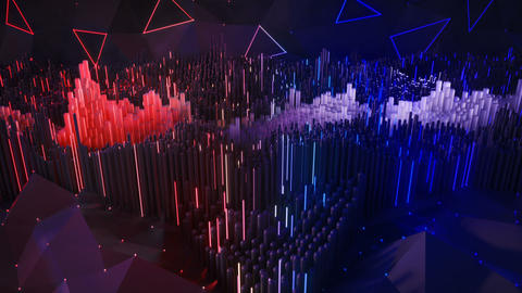 Blue and red dynamic waves visualization seamless loop 3D render animation Animation