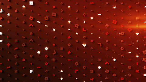 Wall of glow red abstract symbols loopable 3D render animation Animation