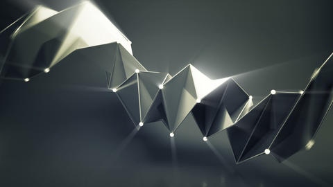 Abstract futuristic black shape with shiny spheres... Stock Video Footage