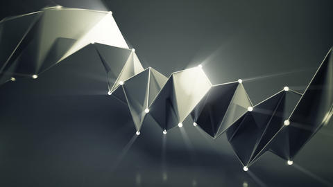 Abstract futuristic black shape with shiny spheres loopable 3D render animation Animation