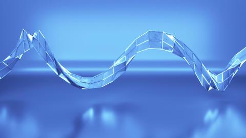 Polygonal blue mesh with illuminating edges seamless loop 3D render animation Animation