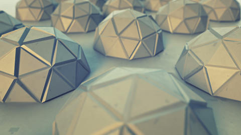 Polygonal metal objects seamless loop 3D render animation Animation