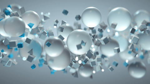 White and blue geometric shapes are are flying seamless loop 3D render animation Animation