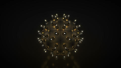 Metallic sphere with incandescent light bulbs loopable 3D render animation Animation