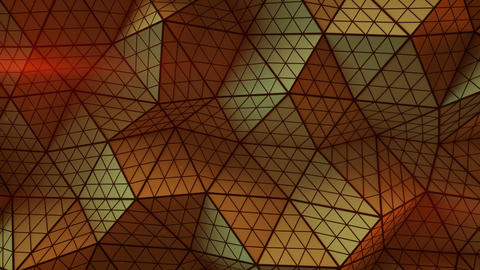 Orange triangulated shape with polygons loopable 3D render Animation