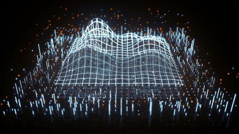 Weveform on grid surface seamless loop 3D render animation Animation