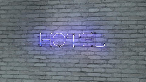 Hotel blue neon light sign on brick wall 3D render seamless loop animation Animation