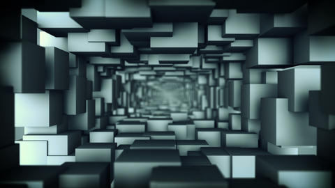 Corridor of gray cubes 3D render seamless loop animation Animation