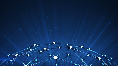 Network structure and blue light rays 3D render Animation
