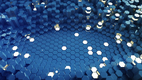 Blue glossy and glowing hexagon shapes 3D render seamless loop animation Animation