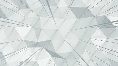 Distorted low poly white strusture seamless loop 3D render animation Animation