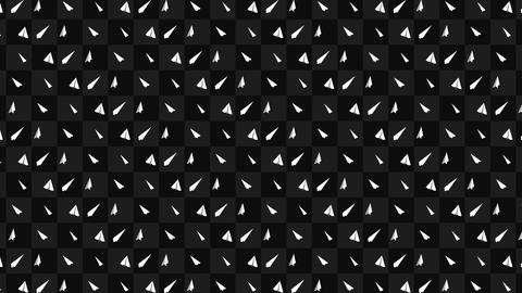 Handmade paper plane collection. Loop animation of flowing white paper plane on black background. Animation