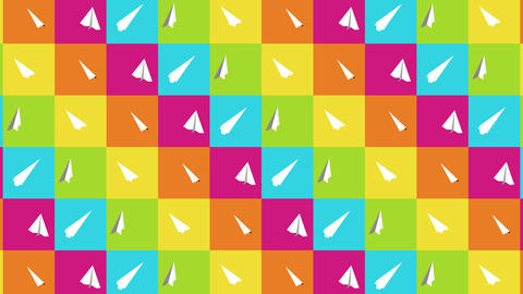 Handmade paper plane collection. Loop animation of flowing white paper plane on colorful background. Animation