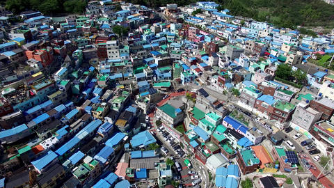 Aerial View of Gamcheon Culture Village, Sahagu, Busan, South Korea, Asia Live Action