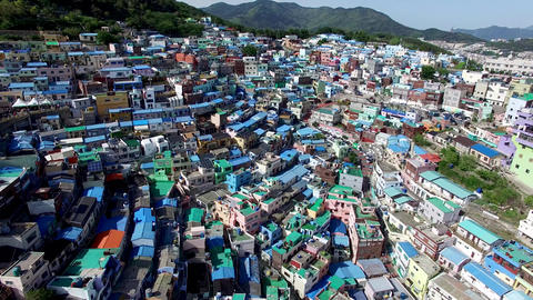 Aerial View of Gamcheon Culture Village, Sahagu, Busan, South Korea, Asia Live Action